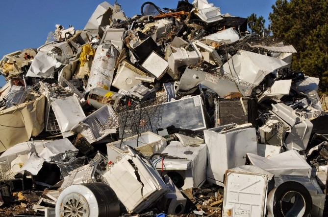 Heap of durable goods at landfill